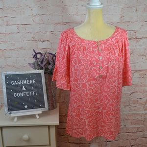 Vineyard Vines Rayon Fish Blouse in Coral Pink A2